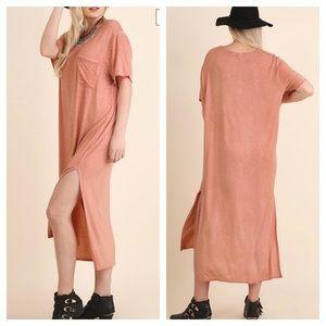 Umgee Pink Mineral Wash Side Slit Pocket Maxi Dres